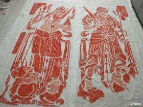 唐代安阳灵泉寺石窟摩崖造像《那罗延神王像》一套2张原拓拓片