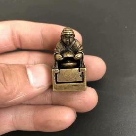 古玩杂项收藏仿古铜印章小摆件实心黄铜微雕刘海戏金蟾文房章篆刻