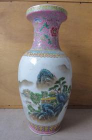 80年代精品景德镇手绘粉彩山水大花瓶(高46厘米)