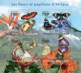 多哥2011年 非洲的花和蝴蝶 鹤望兰 珍蝶 邮票 小型张 全新