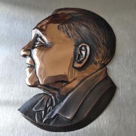 孔网孤品  著名画家李琦创作邓小平浮雕像铜纪念章 底板250x150毫米 邓像90ⅹ68毫米 精美铸造