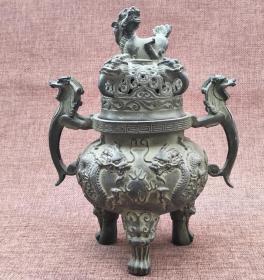 双龙戏珠铜香炉