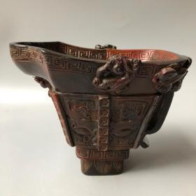 牛角饕餮纹角杯长18厘米,宽11.5厘米,高14厘米重730克