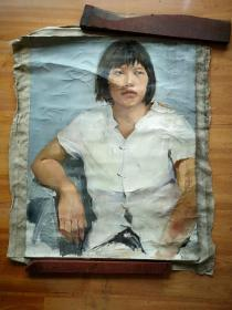 约90年代左右大幅刀笔肖像油画原作《短发女青年肖像》