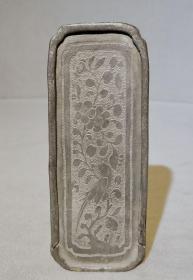 清代雕刻精美锡印章印泥盒