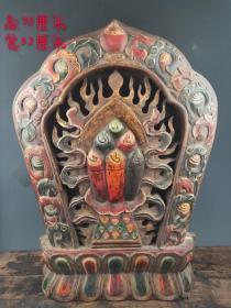 大漆描金《火种》唐卡,纯手工雕刻,包浆自然,保存完整,细节如图