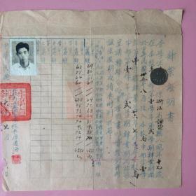 罕见,民国,证明书,安徽省立芜湖中学,照片,红印