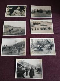 【民国时期外国科考队在山西省大同云冈石窟一带考察赶路老照片,中国人随从向导众多。系列之二】共计7张老照片,尺寸均为13.5X9.2厘米左右,厚相纸。珍贵史料!