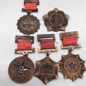 古玩杂项收藏仿古红色收藏八一勋章大全套五枚一套