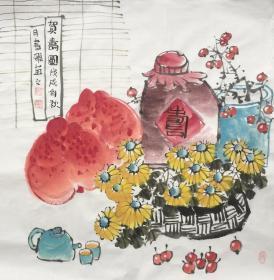 【保真】【陳書雅】河南省美術家協會會員,中國書畫研究社會員、教育科學出版社美術編輯,北京師白藝術研究會會員、四尺斗方花鳥。1(68*68CM。)