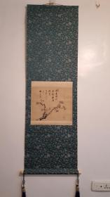 清江户时期画家海客菘翁(贯名海屋)笔老绢本绫裱水墨画(墨梅图)28:35cm精致老轴头老桐木盒子