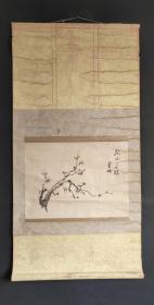 D1164:回流手绘老梅图立轴(日本回流.回流老画.老字画