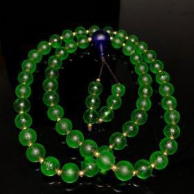 乡下收天然玻璃陨石佛珠项链
