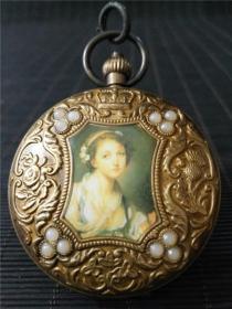 景泰蓝铜镶嵌珍珠西洋画欧米茄双开老怀表一件