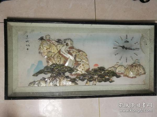貝殼制作的大型長城旭日-貝殼畫
