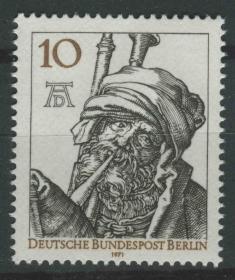 德国邮票 西柏林 1971年 画家丢勒诞生500周年 铜版画 吹风笛的人 雕刻版 1全新