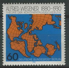 德國郵票 西柏林 1980年 德國地理學家 魏格納誕生100周年 世界地圖 1全新