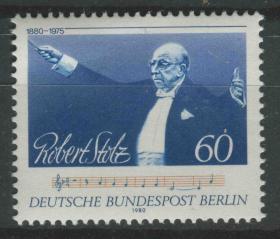 德國郵票 西柏林 1980年 作曲家斯托爾茲誕生100周年 1全新