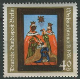 德國郵票 西柏林 1981年圣誕節 教堂玻璃畫 東方三圣 1全新