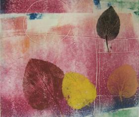 版画家张万里套色木刻版画原作 《自然》画面尺寸35X30CM  出版有《张万里版画集》《画笔之歌》《诗性世界》。