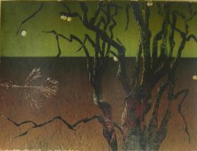 版画家张万里套色木刻版画原作 《影》画面尺寸46X35CM  出版有《张万里版画集》《画笔之歌》《诗性世界》。