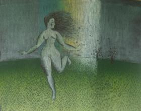 版画家张万里套色木刻版画原作 《夜》 画面尺寸62X49CM  出版有《张万里版画集》《画笔之歌》《诗性世界》。