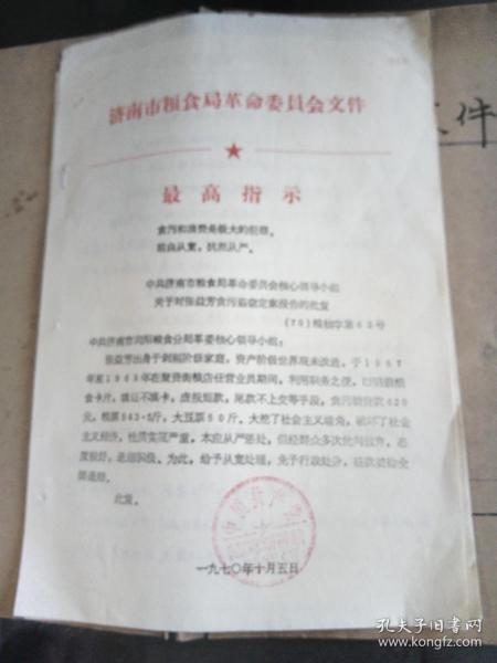 文革資料:中共濟南市糧食局革命委員會核心小組 關于對張益芳,孔方蘭報告