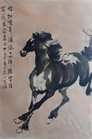 中国美术家协会会员, 湖南美术家协会会员,湖南画马大师张一尊弟子陈恺良 精品奔马图 惜原保存不当有折痕印 虽然有手工装裱,但仍有轻微印痕, 识者宝之