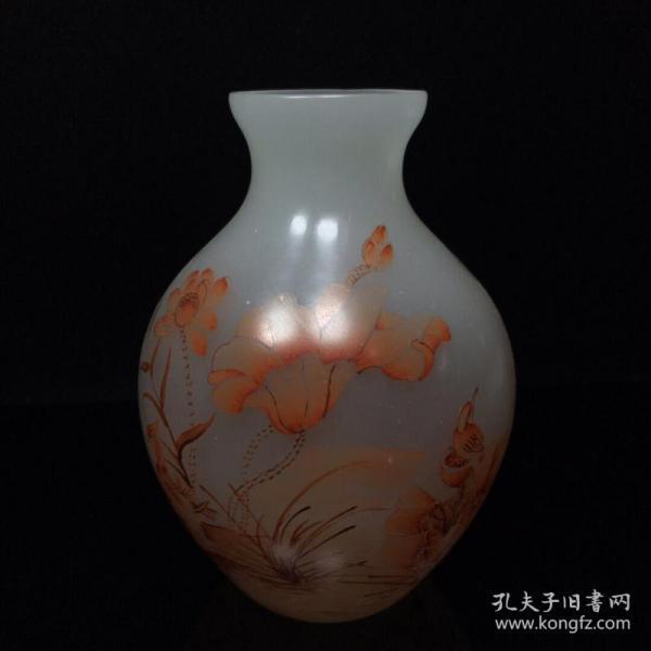 古法琉璃荷塘鴛鴦紋花瓶