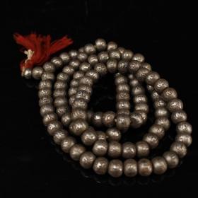 純手工大師用過玄鐵打造雕刻六字真言108粒佛珠