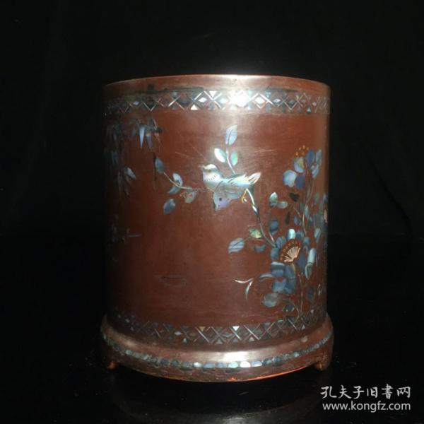 漆器鑲貝殼花鳥筆筒