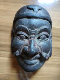 老木雕刻傩面具,刀法精到,傩舞为非物质文化遗产,孔网孤品