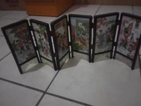 几十年瓷版画小屏风红楼梦十二金钗    太师杨树林作品  六片  品好
