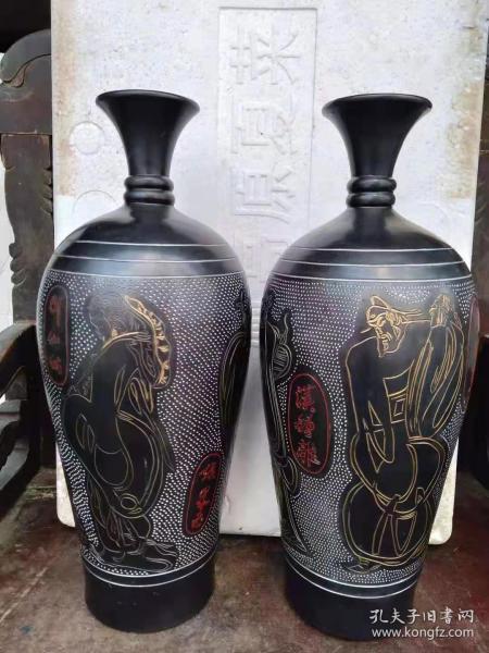 喬十光漆藝陶八仙人物花瓶一對