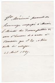 法国现实主义作家 中短篇小说大师 梅里美(Prosper Merimee)1847年亲笔信 《卡门》、《高龙巴》 作者