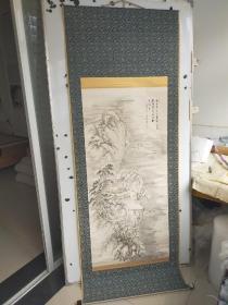 约解放前后  雪景山水画立轴  原装旧裱 作者不识 尺寸130x61