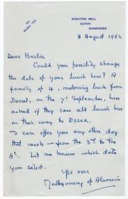 二战盟军最杰出的将领之一 蒙哥马利元帅(Bernard Law Montgomery)1962年亲笔信