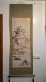清江户时期画家谷文晁笔老纸本绫裱(煮茶渔乐图)130:50cm精致红木轴头老桐木盒子(民国时期重裱)