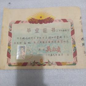 1959年杭州市小学毕业证书