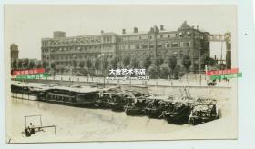 1929年上海苏州河畔天主教公济医院全貌老照片,泛银