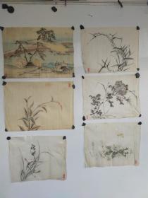 约民国时期  无款  山水 花卉册页4个 每个尺寸约30x30左右