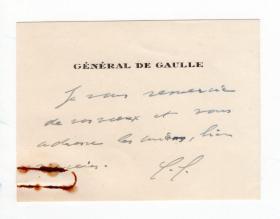 法国最伟大总统 戴高乐 Charles de Gaulle 亲笔信名片
