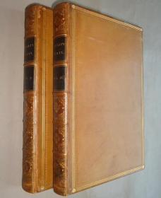 1861 年 Essays by Lord Macaulay 《麦考莱随笔集》全小牛皮古董书2册全 品相绝佳 配补精美插图