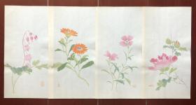 清末民国 清秘阁 花卉笺一组四张 信笺纸 木版水印诗笺 木板水印