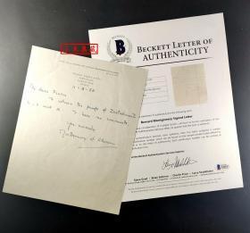 """""""英国陆军元帅"""" 蒙哥马利 元帅 1958年(重要年份)亲笔信件  三大签名鉴定公司之一Beckett(BAS)鉴定"""