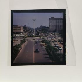 唐山老照片河北120彩色反转片6x6  城市街景老底片