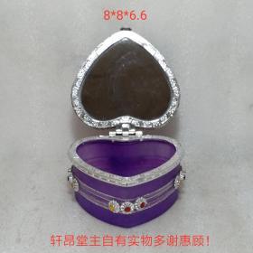 高贵典雅 紫罗兰心形首饰盒(内沿无损。因银色反光拍起来好像有瑕疵)