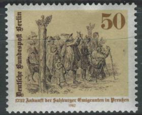德国邮票 西柏林 1982年 普鲁士接纳萨尔斯堡德国移民250周年 绘画 雕刻版 1全新