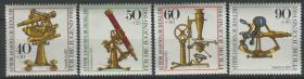 德國郵票 西柏林 1981年 古老光學儀器 顯微鏡等 4全新