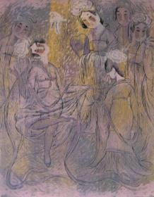 版画家张万里套色木刻版画原作 《仕女》画面尺寸58X45.5CM  出版有《张万里版画集》《画笔之歌》《诗性世界》。